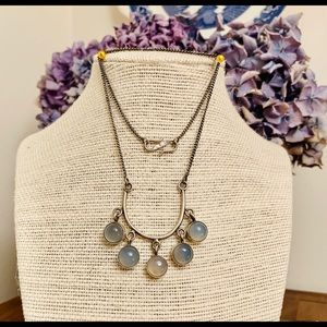 Rivers Bend Sterling & Agate Drops Necklace